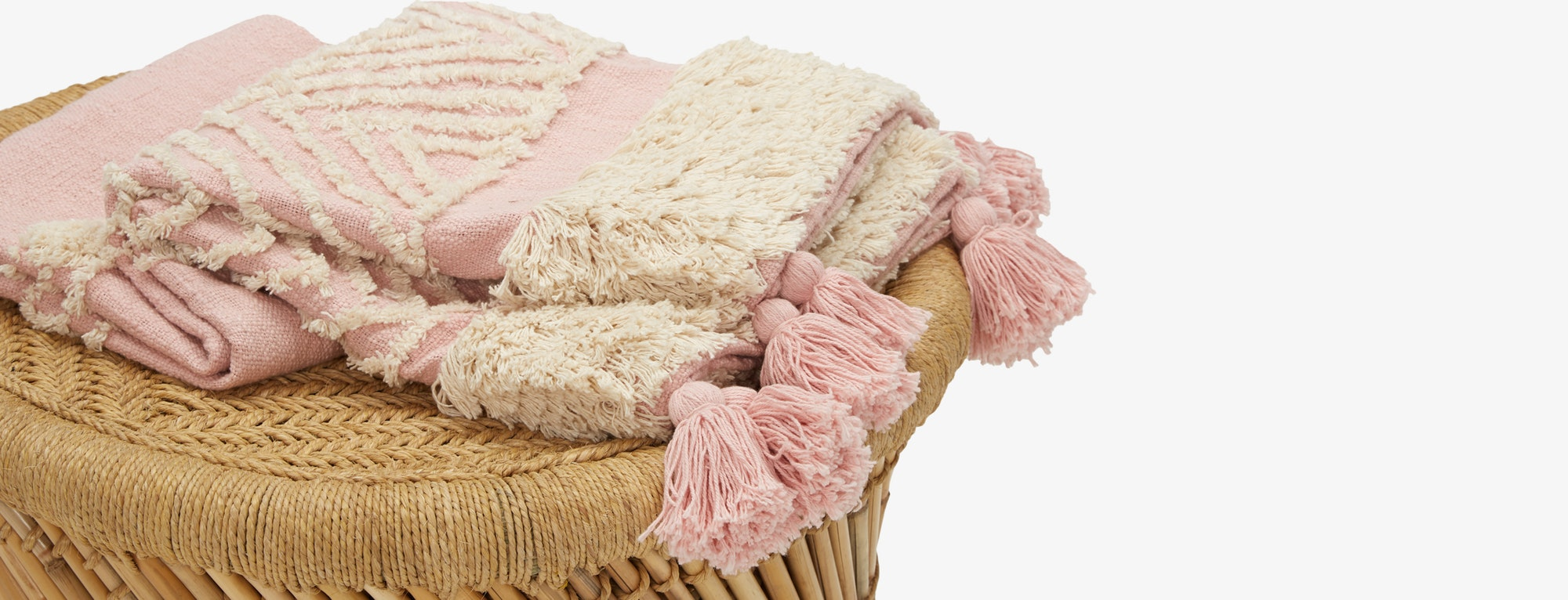 Tufted-Slub-Pink-And-Yellow-Throw-T1-336